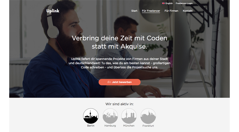 Screenshot von Uplink, der Plattform für IT-Freelancer