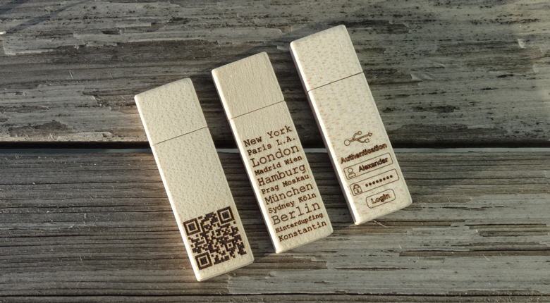 USB-Sticks Woody aus der Thalbach Design Manufaktur