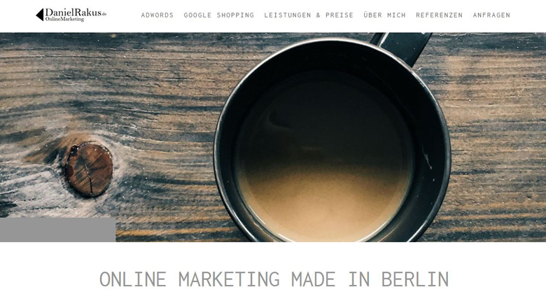 Website von Online Marketing Berater Daniel Rakus