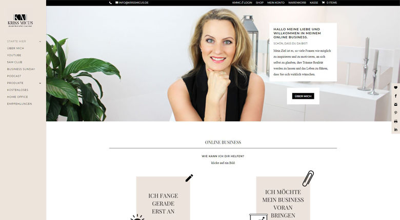 Website von Online Business Coach Kriss Micus